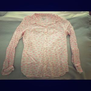 Pink bicycle patterned button up shirt